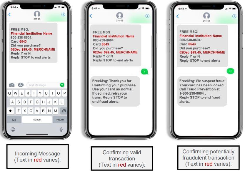visa fraud texts